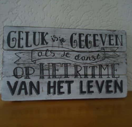 tekstbord 17x30cm geluk is je gegeven antique white