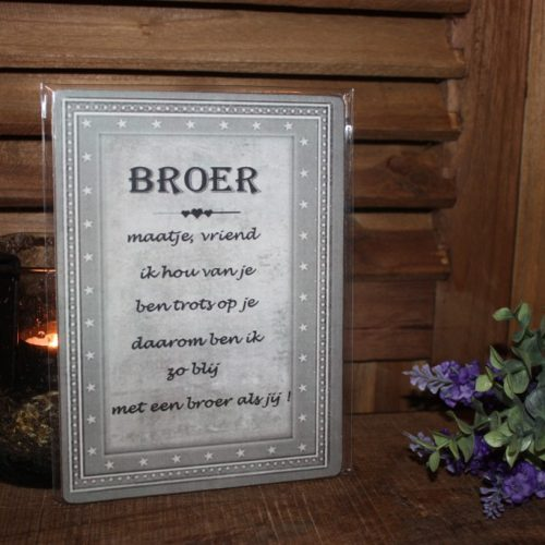 Decoratie Bordje: Broer
